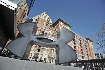 Baltimore, Md--The Under Armour logo outside the new store in Harbor East store. Kim Hairston/The Baltimore Sun
