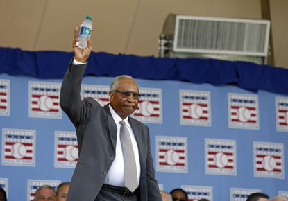 National Baseball Hall of Famer Frank Robinson arrives for an induction ceremony at the Clark Sports Center on Sunday, July 26, 2015, in Cooperstown, N.Y.