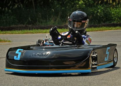 Zac Fowler, 7, of Ellicott City, competing in a Sandy Hook Speedway club event.