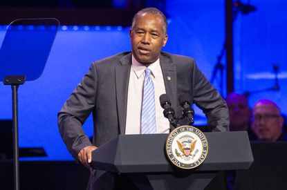 "HUD Secretary Ben Carson speaks during First Baptist Church's"" Celebrate Freedom Sunday Event"" in downtown Dallas on Sunday, June 28."
