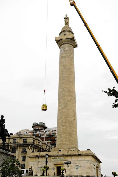 Engineers make assessments of Washington Monument in preparation for restoration.