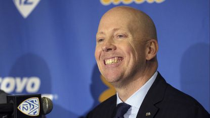 UCLA men's basketball coach Mick Cronin smiles during his introductory news conference in April. Cronin has finalized his coaching staff for his first season in Westwood.