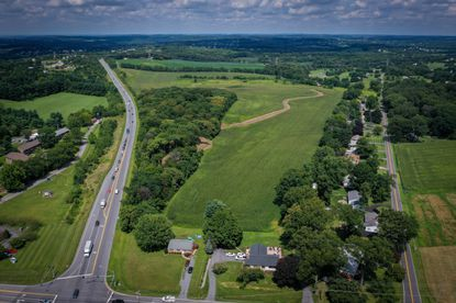 The 250-acre Harrison-Leishear property that is proposed for annexation by the town of Mount Airy is seen between MD-27 (left) and Boteler Road (right).