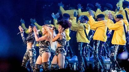 Beyonce performs Saturday during the Coachella Music and Arts Festival in Indio, California, April 14, 2018.
