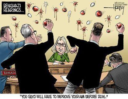 Hillary dodges a tomato