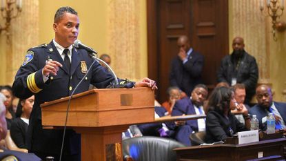 Acting Baltimore Police Chief Darryl DeSousa answers questions from the City Council last Wednesday evening before a confirmation hearing. Algerina Perna/Baltimore Sun Staff.