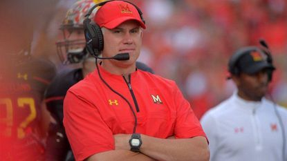 Maryland football coach DJ Durkin during a local showdown at the Terps' first home game of the 2017 season.