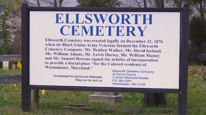 A sign outside Ellsworth Cemetery in 2000.