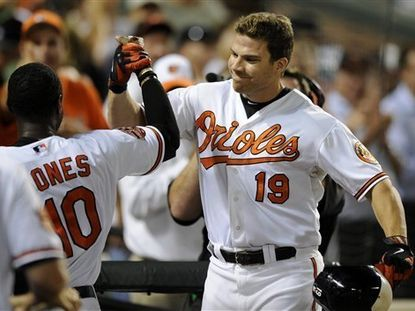Davis homered in six straight games down the stretch of the 2012 season to help the Orioles secure their first playoff birth since 1997. He built off that by homering in the first four contests of 2013, becoming the fourth player in MLB history to do so. Davis tied an AL record with 37 home runs before the All-Star break and was the league's starting first baseman in the All-Star Game. He also participated in the Home Run Derby, though a blister issue hampered his chances. He ended the year with 53 home runs, an Orioles record, as he finished third in AL Most Valuable Player voting.