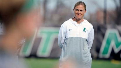 Loyola Maryland women's lacrosse coach Jen Adams during the 2017 season.