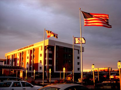 The American flag flies proudly at Carroll Hospital.