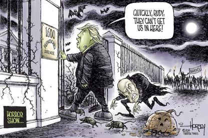 Rudy and Trump dash into White House
