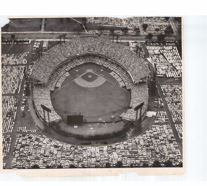 An aerial view of the All-Star Game crowd at Memorial Stadium on July 8, 1958.