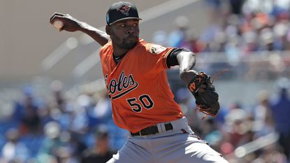 Baltimore Orioles pitcher Miguel Castro during the first inning of a spring training baseball game against the Toronto Blue Jays Friday, March 9, 2018, in Dunedin, Fla.