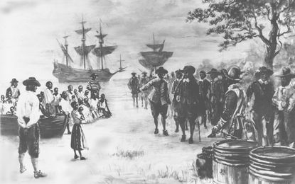 This painting by Sidney King depicts Virginia in 1619 as a Dutch frigate docks at Point Comfort bringing 20 African slaves to be traded to the settlers for food.