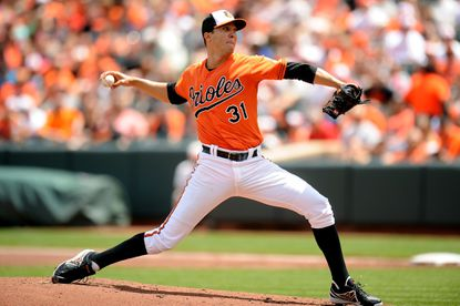Orioles starter Ubaldo Jimenez pitches in the first inning during a baseball game against the Cleveland Indians on May 24.