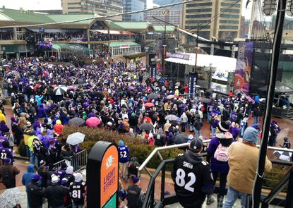 Thousands gather at harbor to send Ravens off to Super Bowl