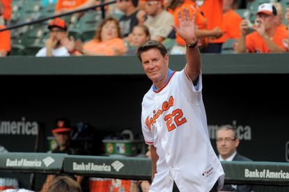 Baltimore, MD -- 07/08/2016 -- Baltimore Orioles' Jim Palmer during pre game ceremonies at Oriole Park at Camden Yards, commemorating the 50th anniversary of the 1966 World Series championship team. Karl Merton Ferron/Baltimore Sun [frame#KF2_8017.JPG; BBA ANGELS ORIOLES]