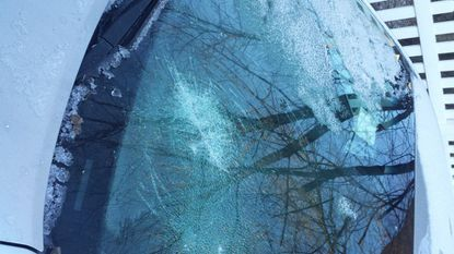 Ray Infussi's windshield on Jan. 2, 2018. The Towson resident said he and four other neighbors woke up to damaged vehicles in the Greenbrier neighborhood. Two additional cars were struck this week.
