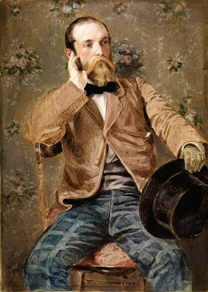 """""""Self-Portrait with Flowered Wallpaper"""" is part of the exhibit """"New Eyes on America: The Genius of Richard Caton Woodville"""" at the Walters Art Museum."""