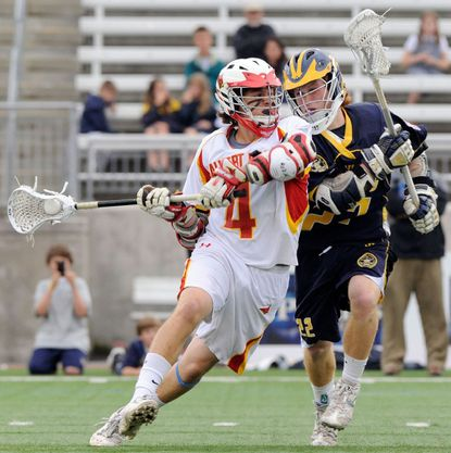 Ryan Brown, a 2012 Calvert Hall graduate, shown cranking a shot against Ben Brehne, of St. Paul's, in the 2011 MIAA lacrosse tournament semifinals, scored a goal in the Major League Lacrosse all-star game on July 8.