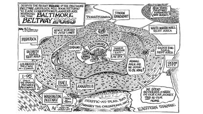 A KAL cartoon from 1998 predicts the future of the Baltimore Beltway.