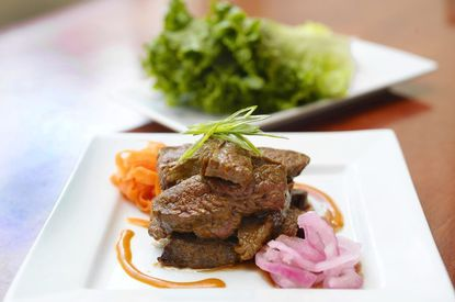 BBQ Steak Wraps at Pure Wine Cafe on Main Street in historic Ellicott City