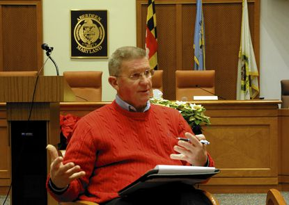 Aberdeen Mayor Michael Bennett talks about a community response to bullying in local schools during a community meeting Tuesday evening at Aberdeen City Hall.