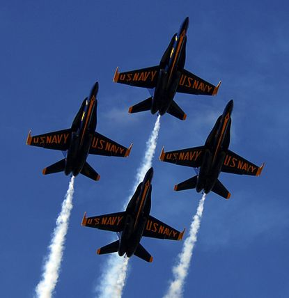 The Blue Angels will fly over Baltimore during the National War of 1812 Bicentennial Launch in Baltimore.