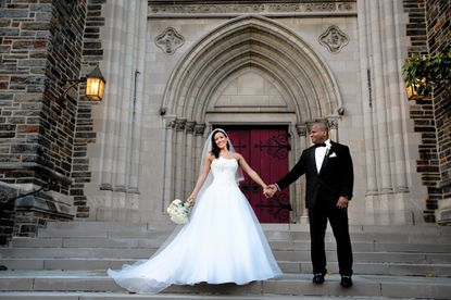 Jessica McClintock and Marcus Glover were married at Cathedral of the Incarnation in Baltimore.
