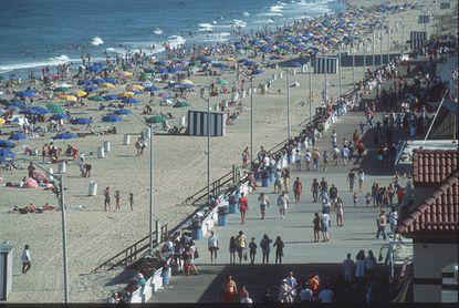 The boardwalk in summertime at Rehoboth Beach, Delaware.