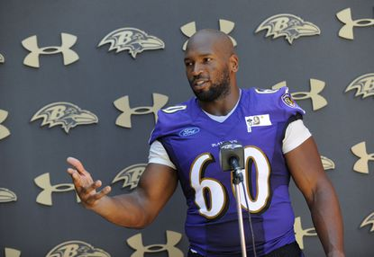 Ravens' tackle #60 Eugene Monroe. Baltimore Ravens' football training camp at the training facility in Owings Mills.