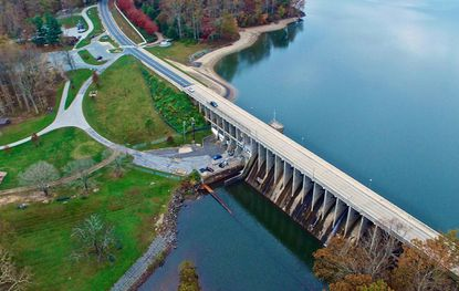 Brighton Dam is undergoing a $13 million rehabilitation project. The two-year project will include rebuilding 13 gates, resurfacing the spillway and constructing a visitor's center.