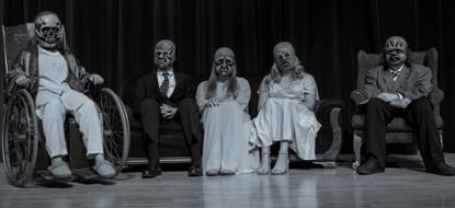 """Manchester Valley actors from their 2019 production of """"The Masks"""" from the """"Twilight Zone"""" pose for a portrait. Two shows remain on Nov. 8 and 9 at 7 p.m."""