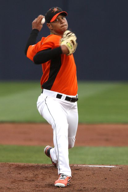 Eduardo Rodriguez pitches for the Frederick Keys earlier this year.