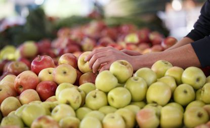 Apples are displayed at a farmers market in Arlington, Va. Chlorpyrifos is a common pesticide used on apples, citrus fruits, almonds and other crops that some experts believe should be banned. (AP Photo/J. Scott Applewhite)