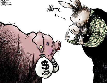 The return of congressional earmarks: They don't look like pork at all. (Scott Stantis/Tribune Content Agency).