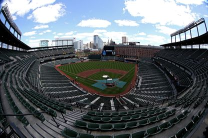 The stands are seen empty before the Baltimore Orioles play the Chicago White Sox at Oriole Park at Camden Yards on April 29, 2015 in Baltimore.