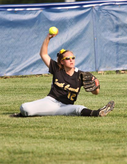 South Carroll's Morgan Alder catches an out, in 2A West Championship softball at Catoctin.