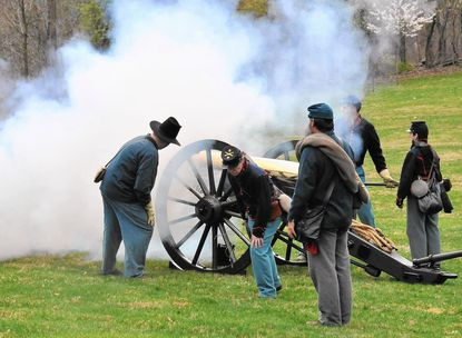 Boom! A demonstration of Civil War cannon at Washington Monument State Park.