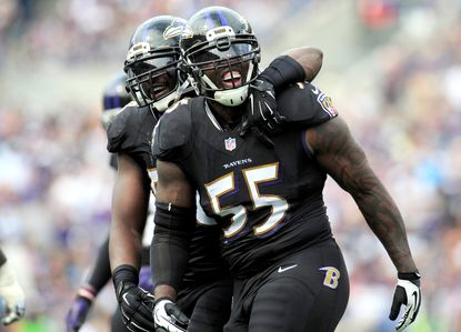 Ravens linebacker Terrell Suggs reacts after making a stop on third down in the second quarter against the Carolina Panthers.