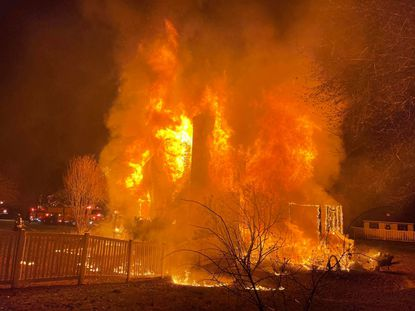 Jarrettsville Volunteer Fire Company and other firefighters responded to a two-alarm fire in the 3400 block of Widows Care in Fallston in Tuesday. The home was considered a total loss.