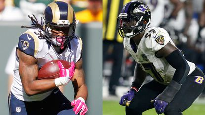 Rams running back Todd Gurley vs. Ravens linebacker C.J. Mosley is one matchup to watch Sunday.