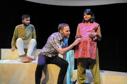 "From left, Utkarsh Rajawat, Paul Diem and Saraniya Tharmarajah in Single Carrot Theatre's production of ""Samsara."""