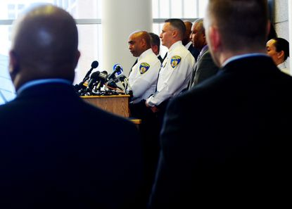 Commissioner Anthony Batts speaks to the media at a press conference in May.