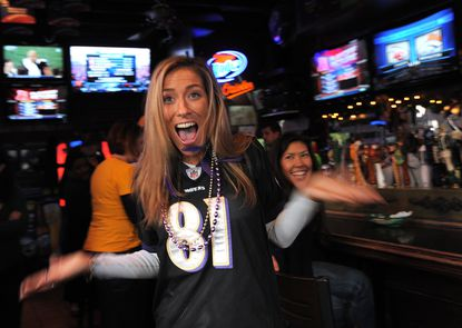 """Marsha Legg, who watched the Ravens game at Looney's Pub in Canton, wasn't fazed by the team's loss to the Bengals. """"We didn't care about the loss today. I was hoping for the Colts,"""" she said of the Ravens' opponent in the first round of the playoffs."""