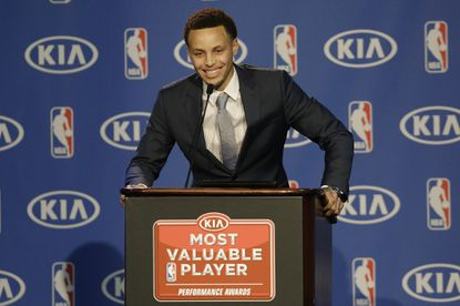 Golden State Warriors guard Stephen Curry speaks at a news conference announcing him as the NBA Most Valuable Player.