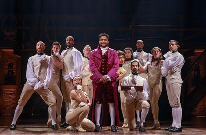 """Bryson Bruce, center, is one of the stars of the production of """"Hamilton,"""" coming to Baltimore's Hippodrome Theatre at the France-Merrick Performing Arts Center starting June 25."""