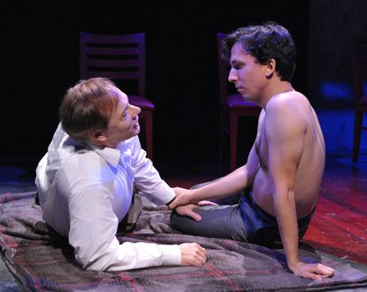 "Nigel Reed as Harry and Alexander Strain as Rudi in ""The Temperamentals"" at Rep Stage."