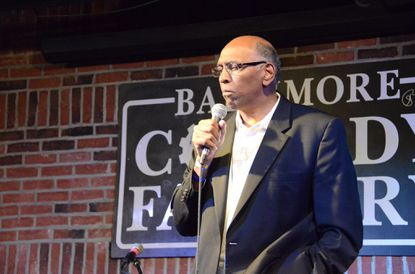 Former Lieutenant Governor Michael Steele competes in Baltimore's Funniest Celebrity contest at the Baltimore Comedy Factory.